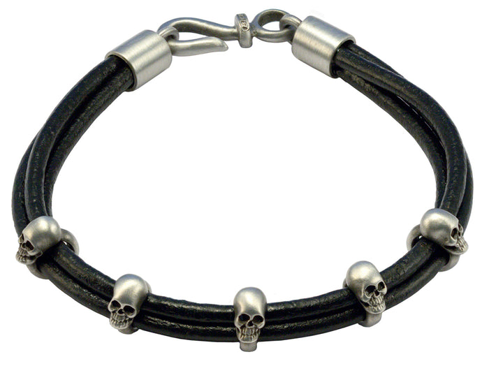 Bico Raw TRUTH Leather Bracelet with Adjustable Skull Rings (FB412BLK)