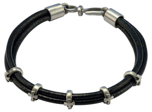 Bico Raw FAITH Leather Bracelet with Adjustable Cross Rings (FB414BLK)