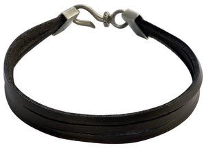 Bico Raw TRIPLE STRAND Black Leather Bracelet (FB421BLK)
