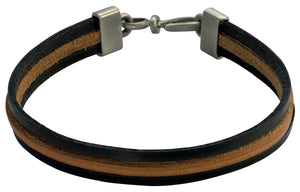 Bico Raw TRIPLE STRAND Black/Brown Leather Bracelet (FB421BLK)