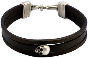 Bico Raw VIGILANT-3 Triple Strip Black Leather Bracelet with Skull (FB422BLK)