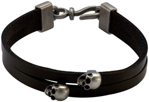 Bico Raw VIGILANT-2 Double Strip Black Leather Bracelet with Skulls (FB423BLK)
