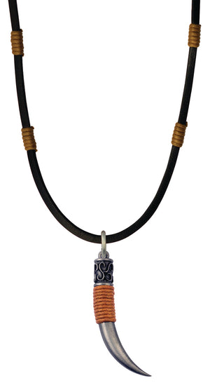 Bico Raw Horn Pendant & Black Leather Necklace (RA1P1C)