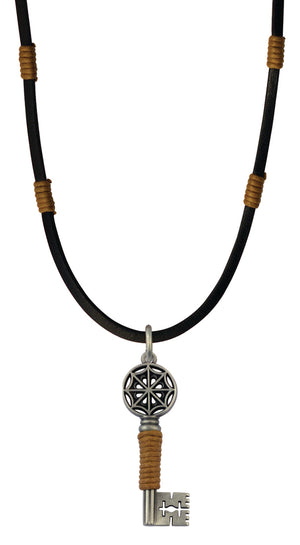 Bico Raw Gatekeeper Pendant & Black Leather Necklace (RA1P2C)