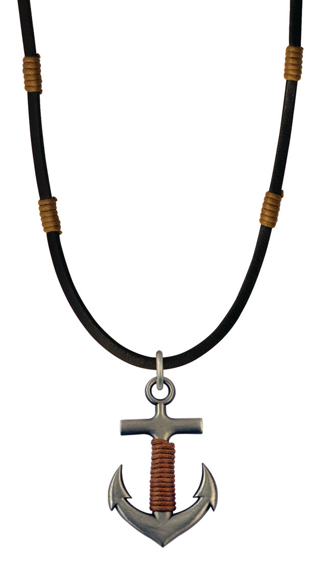 Bico Raw Anchor Pendant & Black Leather Necklace (RA1P3C)