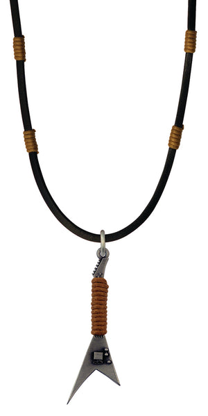 Bico Raw Rockstar Pendant & Black Leather Necklace (RA1P4C)