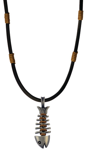 Bico Raw Fishbone Pendant & Black Leather Necklace (RA1P5C)