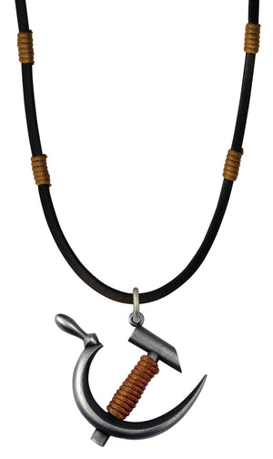 Bico Raw Revolution Pendant & Black Leather Necklace (RA1P6C)