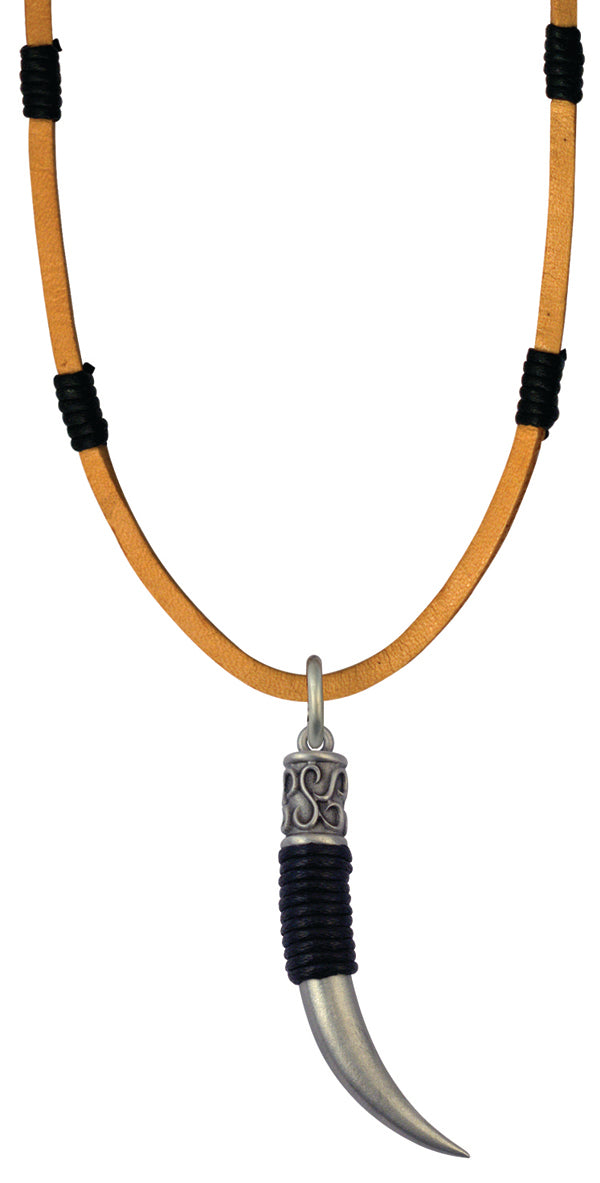 Bico Raw Horn Pendant & Brown Leather Necklace (RA2P1B)