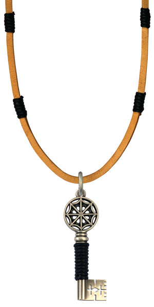 Bico Raw Gatekeeper Pendant & Brown Leather Necklace (RA2P2B)