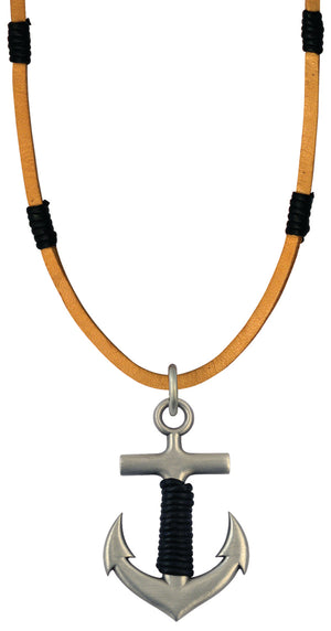 Bico Raw Anchor Pendant & Brown Leather Necklace (RA2P3B)