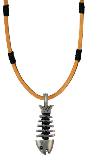Bico Raw Fishbone Pendant & Brown Leather Necklace (RA2P5B)
