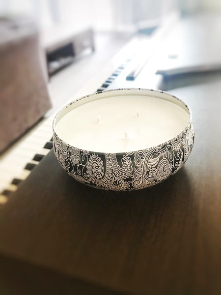 LIMITED EDITION: Paisley Decorative Candle Tin - Lime & Raspberry Trifle