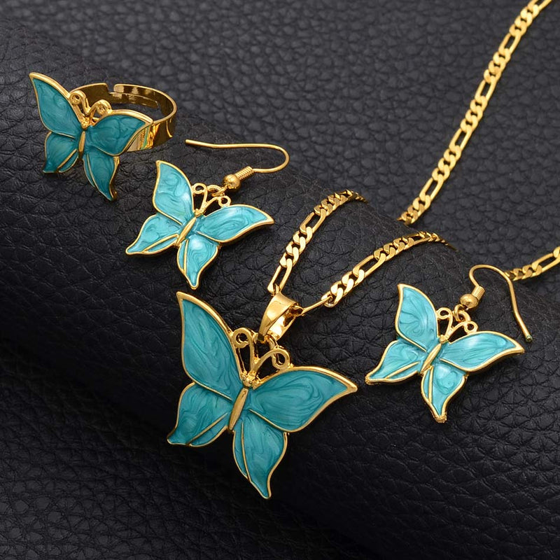 Opal and Gold Butterfly Necklace