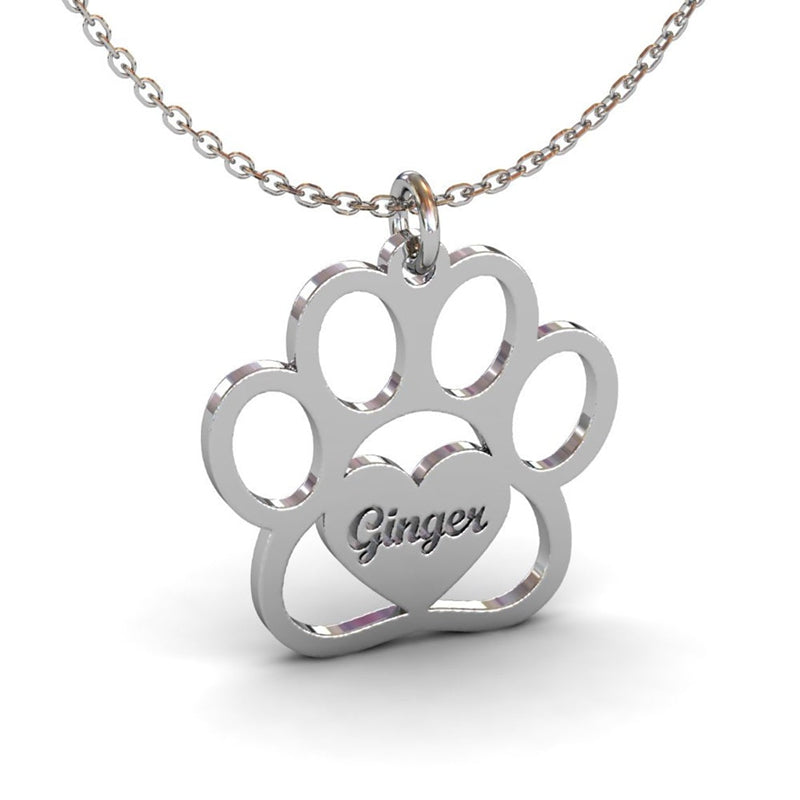 Pet Paw Name Necklace