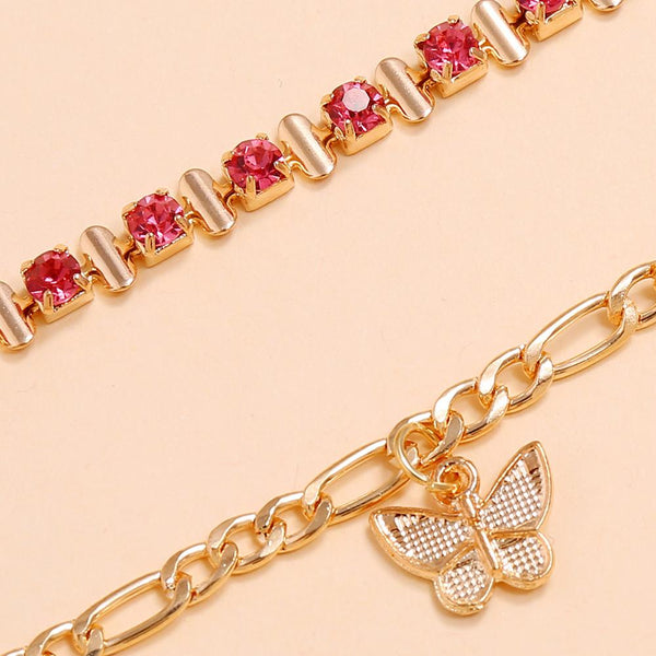 Rhinestone Butterfly Anklet