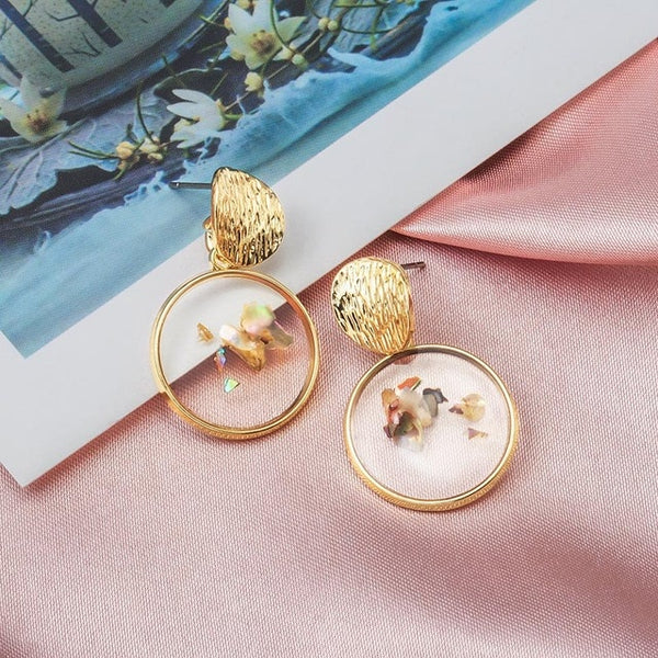 Resin Gold Earrings