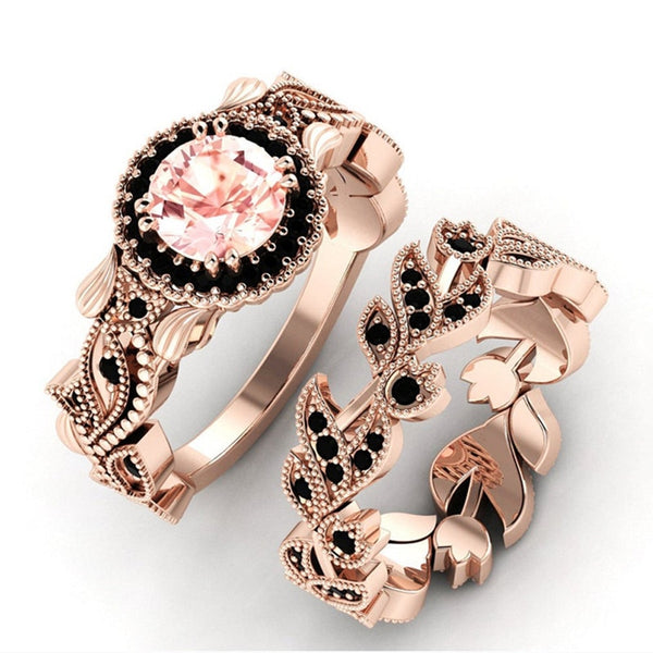 Rose Leaf Ring Set