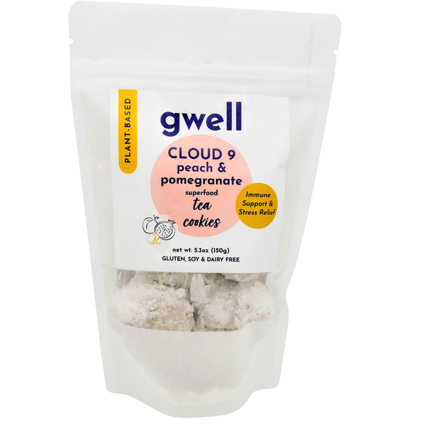 Cloud 9 Peach and Pomegranate - Adaptogen Functional Tea Cookies - Gwell