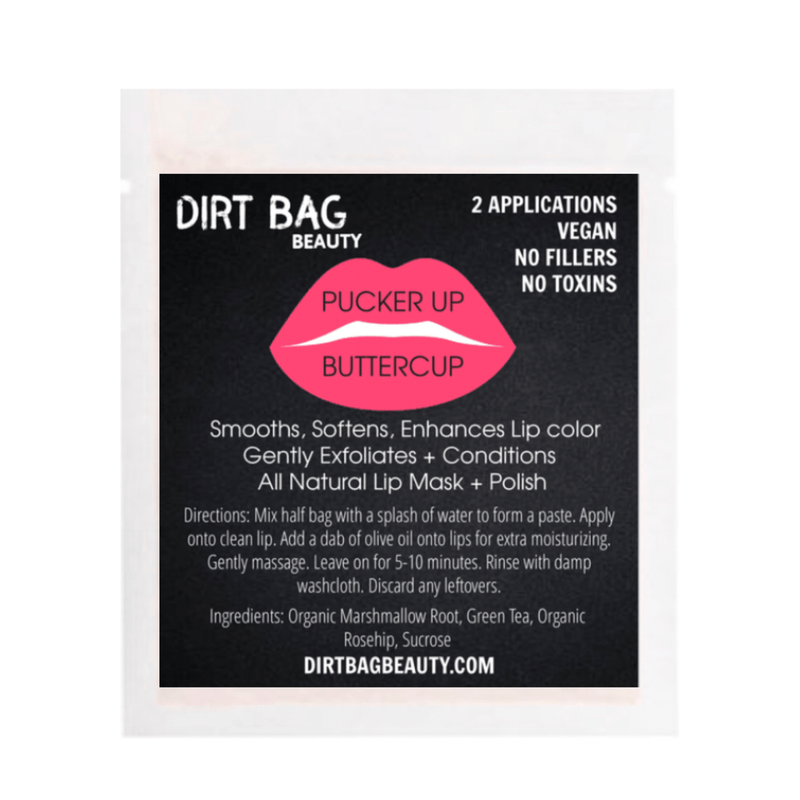 Dirt Bag Beauty - All Natural Vegan Lip Mask + Polish- Pucker Up Buttercup - Dirt Queen SF