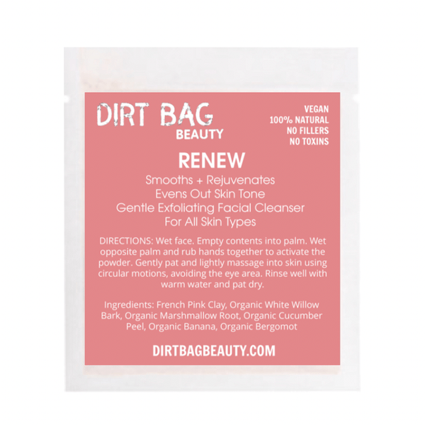 Dirt Bag Beauty - Exfoliating Vegan Facial Cleanser Renew - Single use - Dirt Queen SF