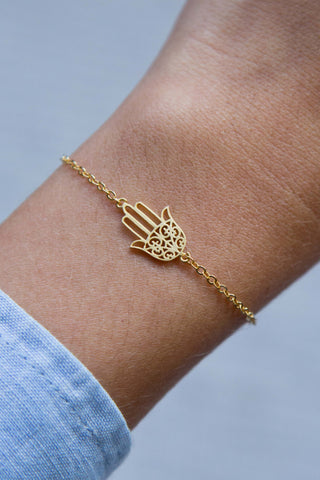 PALM OF HAMSA PENDANT BRACELET GOLD