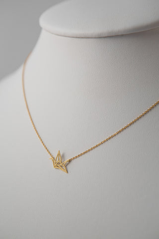 PAPER CRANE PENDANT NECKLACE GOLD