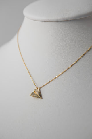 GOLD PAPER PLANE PENDANT NECKLACE