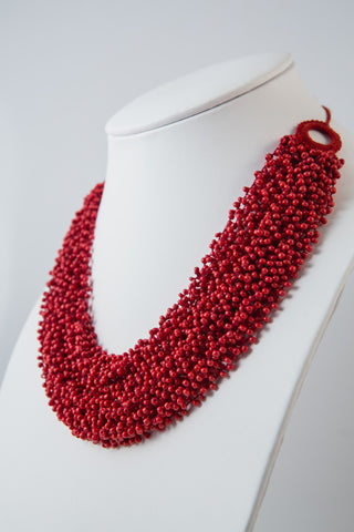 CRIMSON RED FLOATING DROPLETS NECKLACE