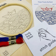 Load image into Gallery viewer, Hope Floats My Boat Embroidery Kit