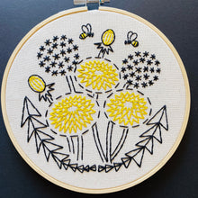 Load image into Gallery viewer, Bee Kind, Dandelion Embroidery Kit