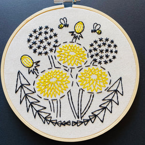 Bee Kind, Dandelion Embroidery Kit