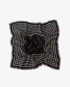 Manner Market Black Stripe Wool and Silk Scarf