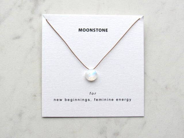 Large Rainbow Moonstone Necklace Card