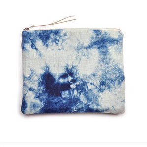 Shibori Indigo Zip Up Cloud Bag