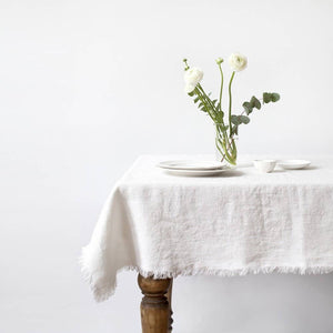 Linen Tablecloth with Fringes
