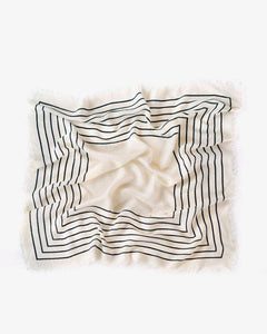 Manner Market White Striped Wool and Silk Scarf