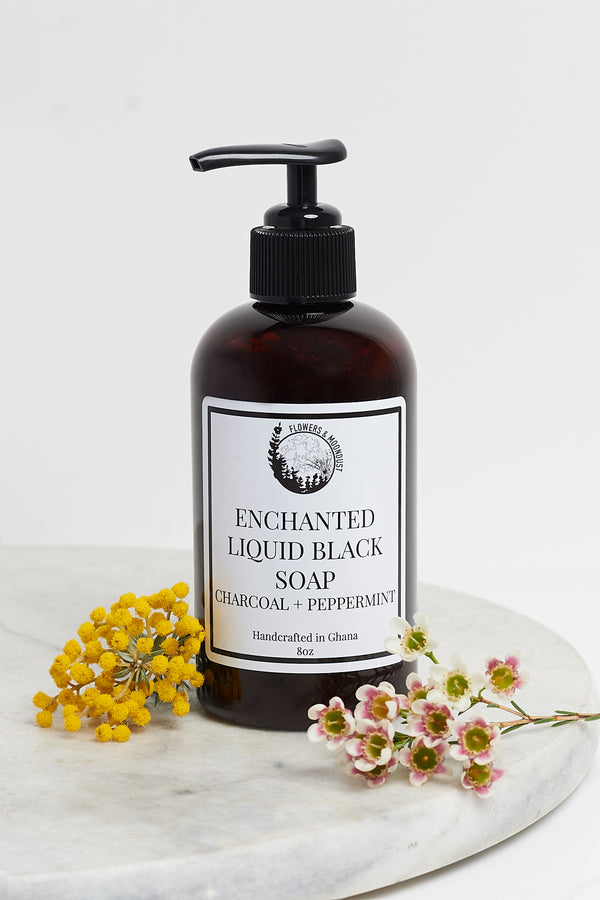 Enchanted Liquid Black Soap (Charcoal + Peppermint)
