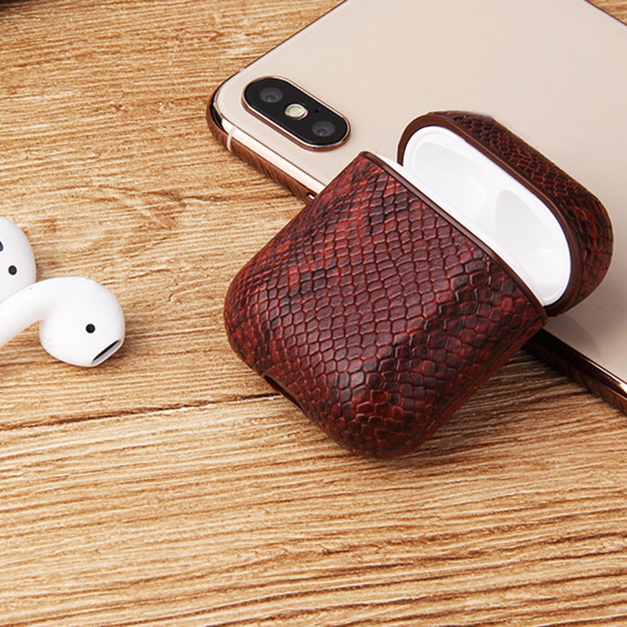Quality Snake Skin Leather Case for Airpod/ Headset