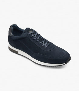 Bannister Navy Suede Mens Trainer by Loake - peters-notts