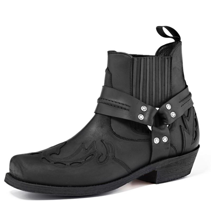 Old Crazy Biker Boot Black