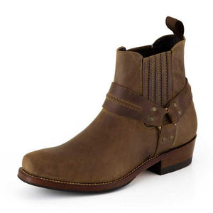 Crazy old Saddale Narrow Urban Biker Ankle Boot - peters-notts