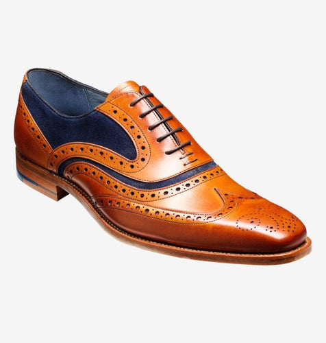 Mclean - Mens Classic Brogue Shoe Cedar Blue - peters-notts