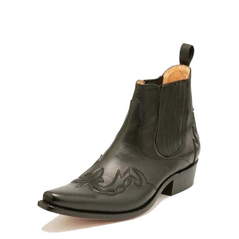 Monk Pull Grass Black Ankle Boot