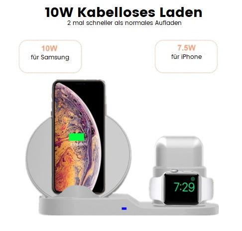 Wireless QI Booster für Samsung, iPhone, Huawei, Sony, Mi, Apple Watch, Apple AirPods 1&2