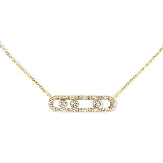 Necklace Diamond Yellow Gold Move Pavé