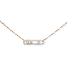 Necklace Diamond Pink Gold Baby Move Pavé