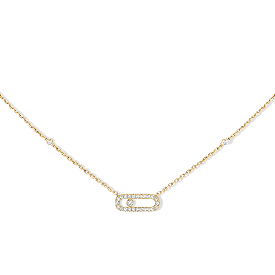 Necklace Yellow Gold Move Uno Pavé