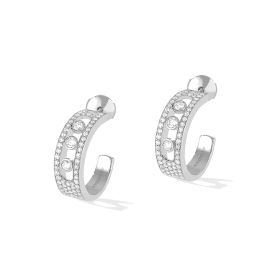 Earrings Diamond White Gold Move Joaillerie Pavé Hoop