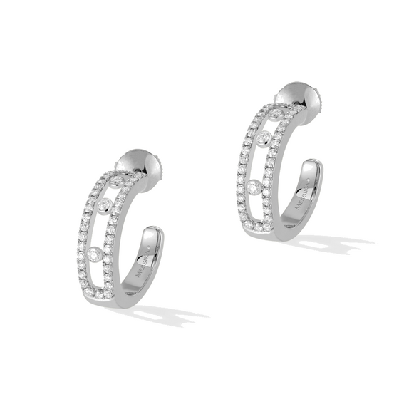 Earrings Diamond White Gold Move Pavé Hoop